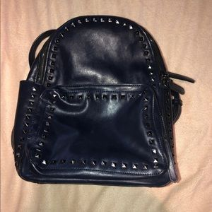 Handbags - Studded Navy Leather Backpack